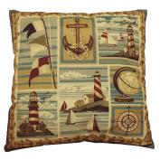 DonnieAnn Bellagio Kahki Nautical Print Accent Pillow
