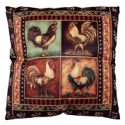 DonnieAnn Bellagio Black Rooster Print 46cm Square Accent Pillow