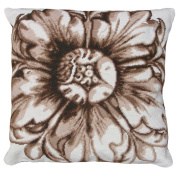 123 Creations, Inc. Brown Rosette Needlepoint Accent Pillow