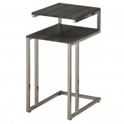 Worldwide Homefurnishings Inc. Knox Metal and Wood Two-tier Accent Table Brown Reclaimed, Chrome Finish