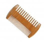 Meta-C Wooden Beard & Hair Comb | Green Sandalwood Pocket Comb For Moustache & Hair | 2-Sided With Fine & Coarse Teeth