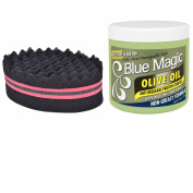 Blue Magic Olive Oil Leave-In Conditioner and Double Sided Magic Twist Hair Brush Sponge For Dreads/Coils Bundle