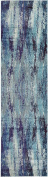 Modern Abstract Vintage 0.9m by 3m (0.9m x 3m) Runner Barcelona Blue Contemporary Area Rug