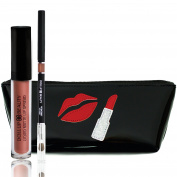 Dollup Beauty Matte Lip Liner and Lipstick Set - Includes 3 Items Liquid Matte Lipstick & Smoothing Lip Liner w/ Handcrafted Silhouette Cosmetic Bag
