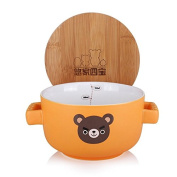 UPSTYLE Big Capacity Cute Cartoon Microwave Ceramic Soup Bowls Instant Noodle Bowl Cereal Bowl for Salad Fruit Vegetable with Bamboo Lid (Not Put in Microwave) Size 25.3oz(750 ml)