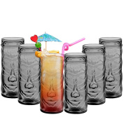 TIKI Cocktail Drinking Glasses Hawaiian Themed Drinks Mugs for Parties / Bar, Summer Punch