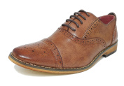 Boys Tan Brown Leather Lined Lace Up Smart Brogues Shoes Size 11-5.5