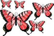 Set of 5 Pink & Black Butterflies - Etched Vinyl Stained Glass Film, Static Cling Window Decal