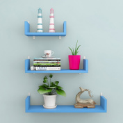 Blue Wall Frame Bedroom Bedside Wall Partition Three Pieces / Sets