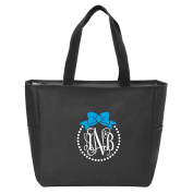Bow and Pearls Monogrammed Tote