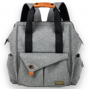 Nappy Bag Backpack With Change Pad and Insulated Baby Bottle Pocket Women and Men - Grey