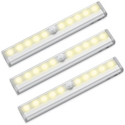 AMIR 10 LED Motion Sensing Closet Lights, 3 Pack DIY Stick-on Anywhere Portable 10-LED Wireless Cabinet Night/ Stairs/ Step Light Bar with Magnetic Strip (Battery Operated) Warm White