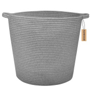 INDRESSME 60cm X 38cm Baby Laundry Basket Extra Large Nature Cotton Rope Storage Basket Nursery Bins Laundry Hamper Baby toys Containers Nappy Bag, Dark Grey