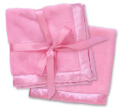 2 Pink Security Blankets, Baby Blankie Small Mini Blanket, 38cm x 38cm , Set of 2, Satin Trim, 2 Pack