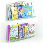 Modern Floating Kids' Nursery Room Book Display Ledge Wall Shelf 60cm Long Set of 2 Grey