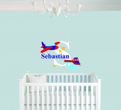 Custom Name Aeroplane Stars Ship & Initial - Baby Boy Wall Decal Nursery For Home Bedroom Children (949)