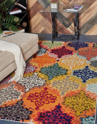 Modern Damask 1.5m by 2.4m (1.5m x 2.4m) Barcelona Multi Colour Contemporary Area Rug