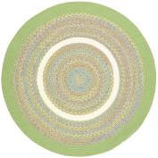 Green Rug Braided Textured Design, 1.2m Round Soft Kids/Nursery Carpet