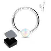 ~ Gift boxed ~ Annealed Nose Hoop Lip, Ear ring bar daith tragus snug rook helix with White Opal ~ 316L surgical steel