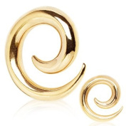 2mm Gold Plated Spiral Surgical Steel Taper Ear Stretcher Earring