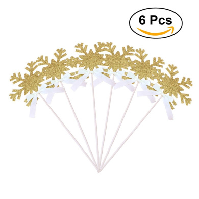LUOEM 6pcs Snowflake Wands Christmas Party Supplies Cake Topper Decoration Sticks (Gold)