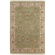 Surya Taj Mahal TJ-101 Traditional Hand Knotted 100% Semi-Worsted New Zealand Wool Desert Sage 0.6m x 0.9m Accent Rug