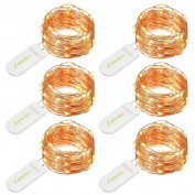 String Lights,6 Set of Micro 30 LEDs 3m Super Bright Warm White Led Rope Lights Battery Operated Copper Wire For DIY Wedding Home Bedroom Party Decoration