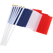 TRIXES 10 Nylon Handheld France Waving Flags Bastille Day Celebration Sport Support