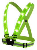 BOYOVO Reflective Vest for High Visibility All Day and Night with Emergency Identification Label,3 Modes USB Rechargeable LED Light ,Fully Adjustable -- Neon Green