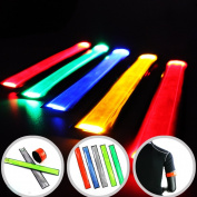 LED Slap Band Glowing Sports Arm Band Bracelet Multi-Colour for Running, Jogging, Dog Walking 5pcs