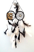 Dream Catcher 0wl Eyes Design - Black and White Feathers - 2 Ring Dreamcatcher