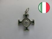 10.042.31 Enamelled Celtic Cross Green 18 x 18 mm Antique Silver Saint Benedict Exorcism Church Priest Nun