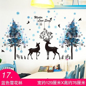 ZHFC-Bedroom bedside wall stickers stickers wallpaper wallpaper warm children's room wall decoration cartoon stickers self-adhesive background,17 blue snow forest,large