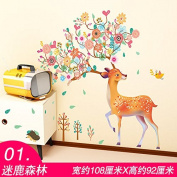 ZHFC-Bedroom bedside wall stickers stickers wallpaper wallpaper warm children's room wall decoration cartoon stickers self-adhesive background,01 Sika Deer,large