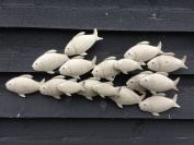 Metal Shoal of Fish Vintage Grey Contemporary Wall Decor Art 3D Affect