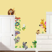 Cute Jungle Zoo Animal lion giraffe elephant Wall stickers Kid's Removable wall decal art decor for nursery Deoration