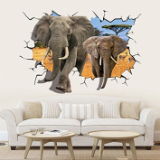 QTT Elephant Group 3D solid wall animals through walls creative living room TV wall to wall of the bedroom attached