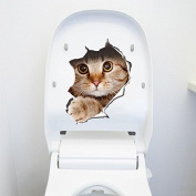 QTT Small cats in the wall decoration sticker toilet a toilet attached cover posters waterproof washable