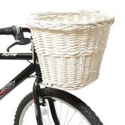 PedalPro White Wicker Bicycle Shopping Basket
