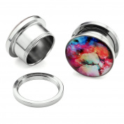 JOVIVI 2-14pcs Stainless Steel Starry Sky Galaxy Screw Ear Tunnels Plugs Expander Stretchers 6G-1.6cm Gauges Piercing