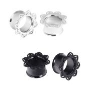 D & Min Jewellery 4pcs 0G-1.6cm Stainless Steel Silver Black Flower Edge Ear Tunnels Stretchers