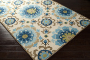 Surya Storm SOM-7705 Contemporary Hand Hooked 100% Polypropylene Parchment 2.4m x 3m Floral Area Rug