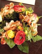 "Artificial Summer wreath SUNA on rattan, orange-red, Ø 12"" / 30 cm - Silk flower / Door wreath - artplants"