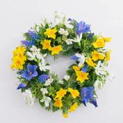 """Artificial Spring wreath FILIPPA with daffodil, hyacinths, yellow-blue, Ø 12"""" / 30 cm - Decorative wreath / Silk flower - artplants"""