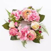 "Artificial Summer wreath SUNA on rattan, cream-light pink, Ø 12"" / 30 cm - Silk flower / Door wreath - artplants"