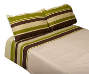 Striped Quilt Cover & Two Pillow Cases Set Easy Care Duvet Bed Linen Bedding - Green