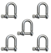 """5 Pieces Stainless Steel 316 D Shackle 5/32"""" (4mm) Marine Grade Dee"""