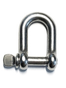"""Stainless Steel 316 D Shackle 5/32"""" (4mm) Marine Grade"""