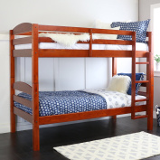 Walker Edison Solid Wood Twin Bunk Bed, Cherry