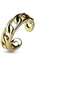 Gold Coloured Chain Linked Adjustable Brass Plated Mid Range Toe Ring Fits Fingers and Toes Nail